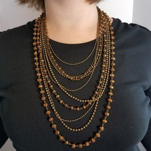 Jewelry - Bronze czech beads faceted brass necklace